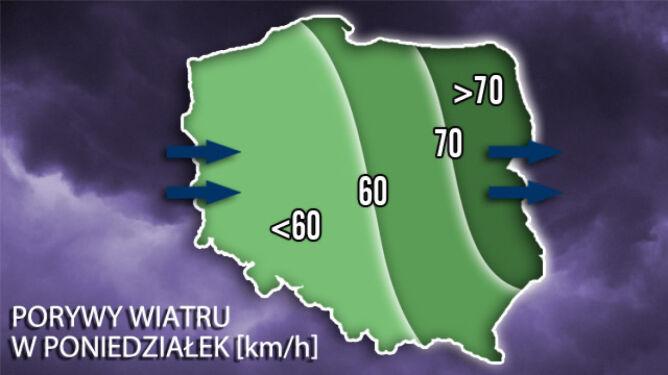 28 listopada - prędkość wiatru w Polsce/TVN Meteo