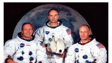Załoga misji Apollo 11 z 1969 roku i po 40 latach (2009 r.)