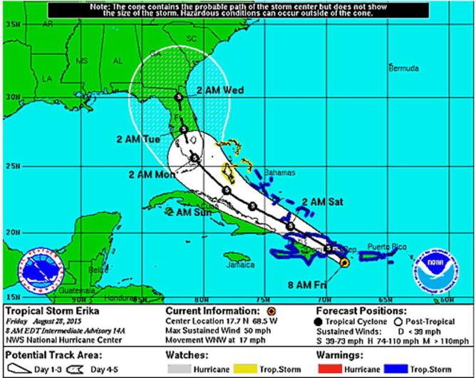 Tajfun Erika uderzył w wybrzeże Dominiki