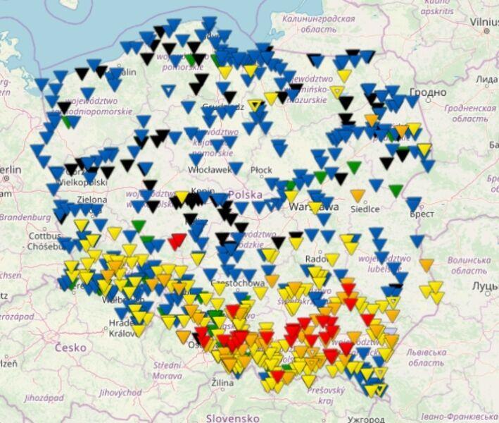 Stan rzek w Polsce o godzinie 21 (monitor.pogodynka.pl/IMGW)
