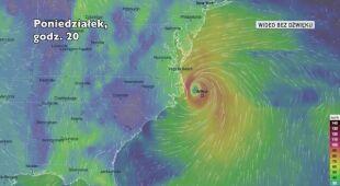 Prognozowana trasa przejścia burzy tropikalnej Arthur (Ventusky.com)